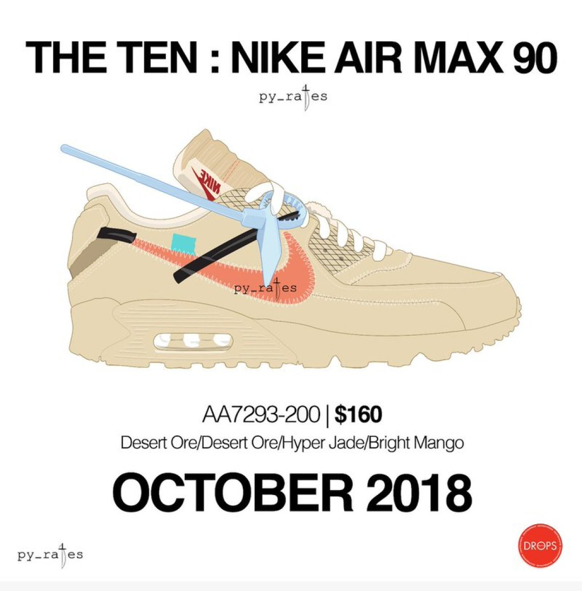 """d289d3c5f6e0 The new Off-White x Nike Air Max 90 """"Sail"""" is said to be dropping in  October according to  Pyrates. Stay tuned with Nice Kicks for updates."""