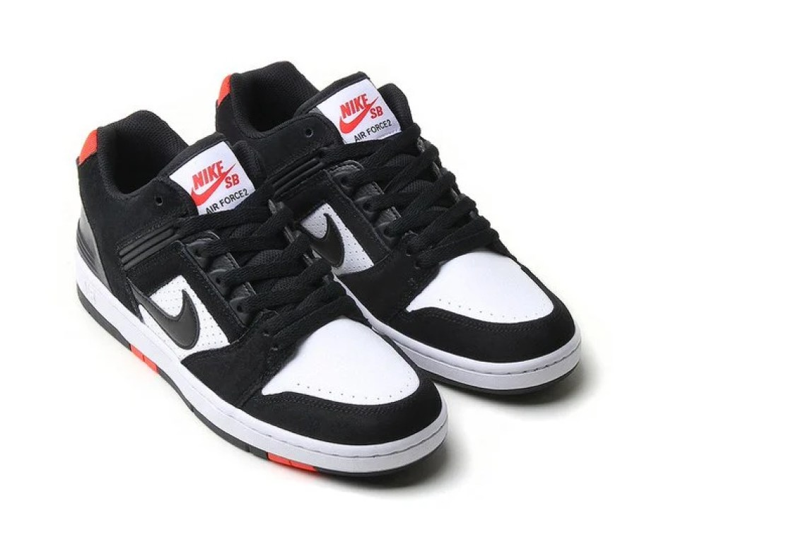 "5e92499c79a0 ... Nike Air Force 2 Low "" Black White Habanero Red"""