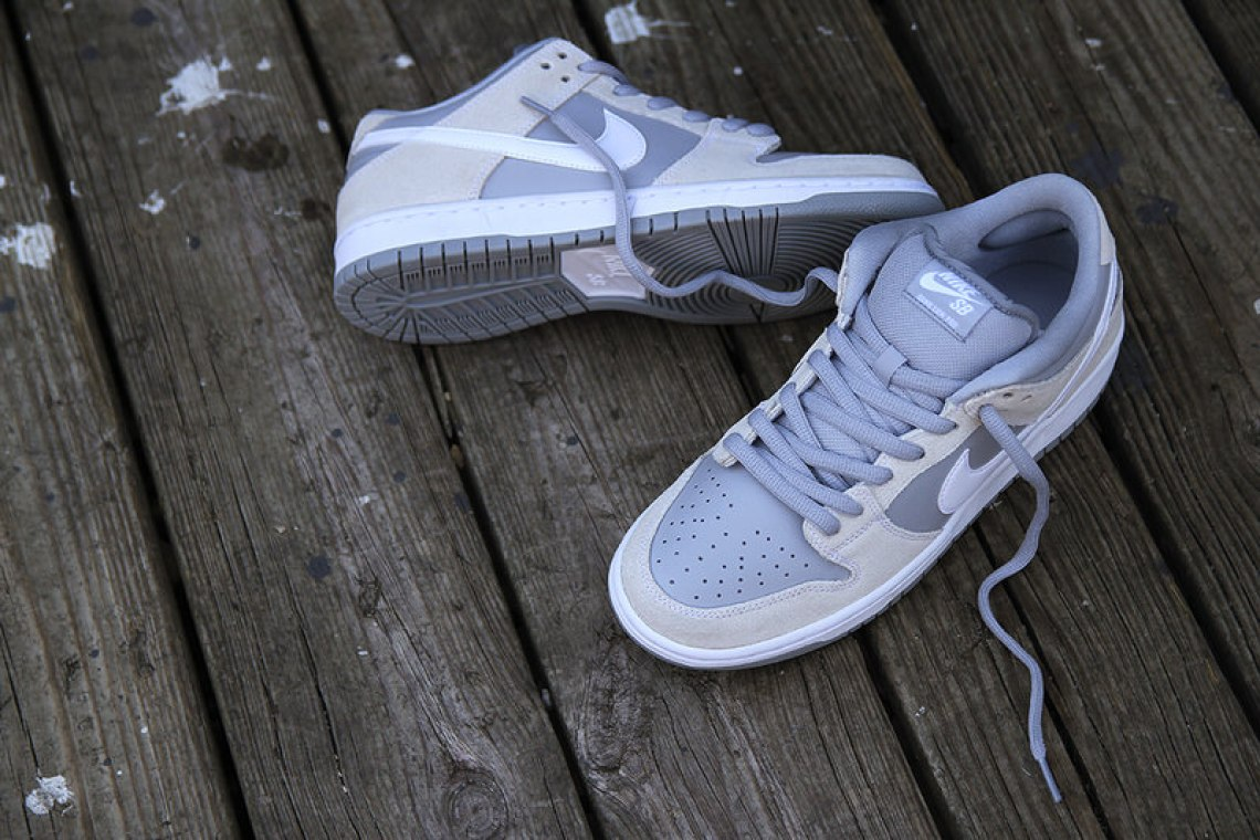 """new arrival 35538 c7494 Available now, the Nike SB Dunk Low """"Summit WhiteWolf Grey"""" can be picked  up for 90 from Premier."""