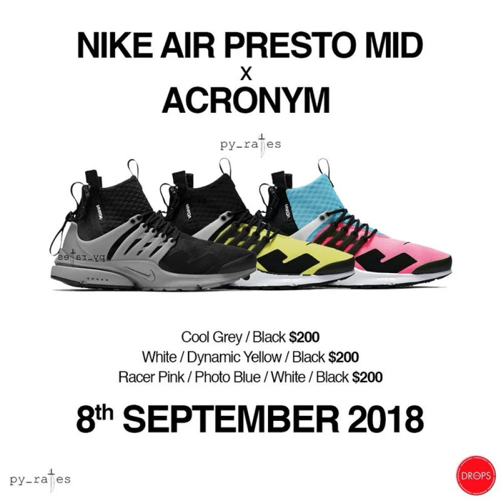 09260ff7e7597 The new Acronym x Nike Air Presto Mid Pack is said to come with three color  options which are Racer Pink Photo Blue-White-Black