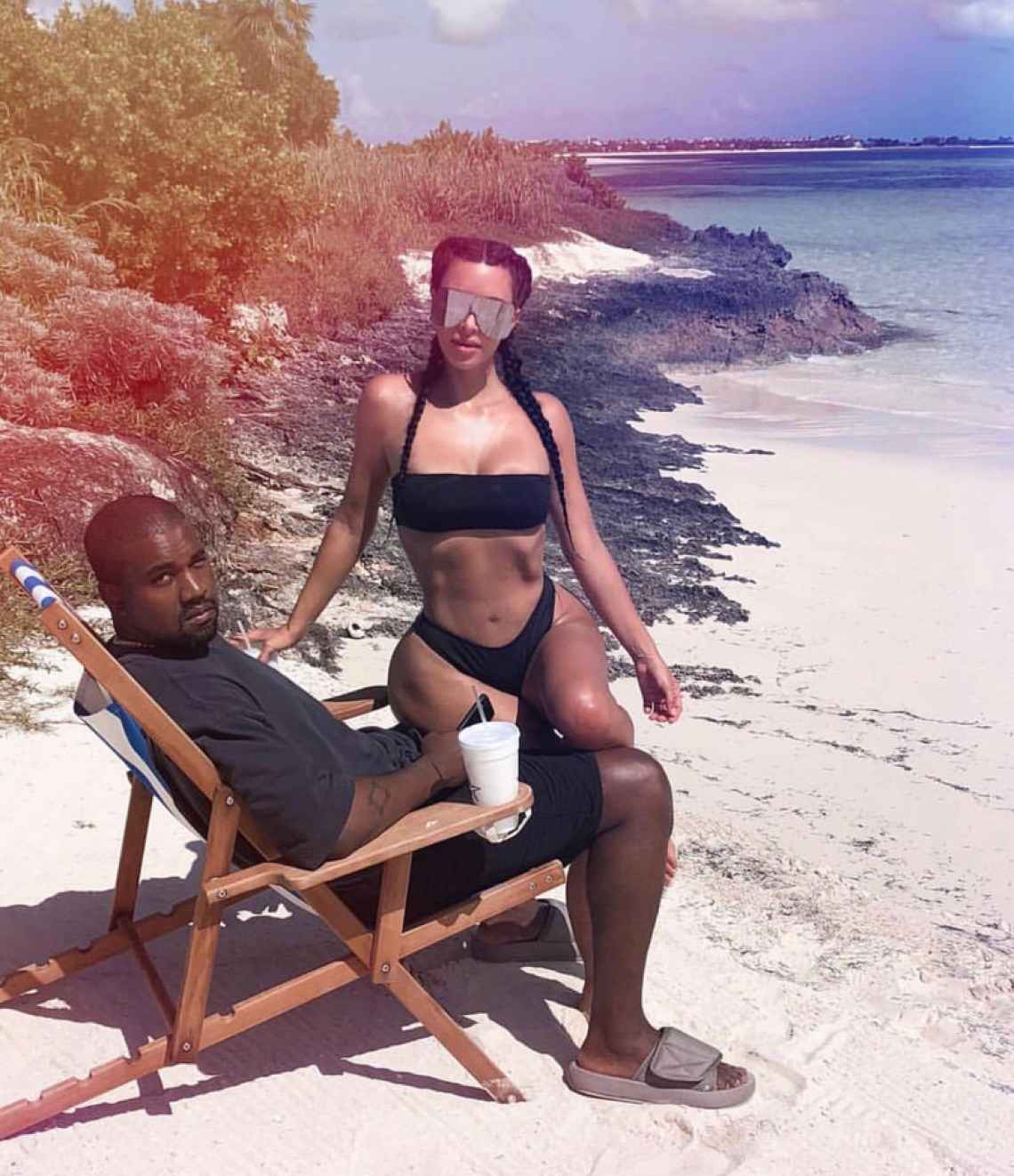 Kanye West in the Yeezy Season Slides