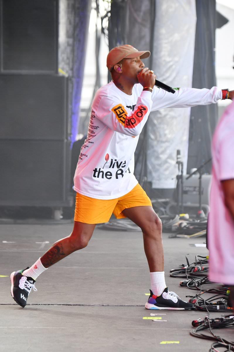Pharrell Williams in the adidas Solar Hu Glide BOOST ST