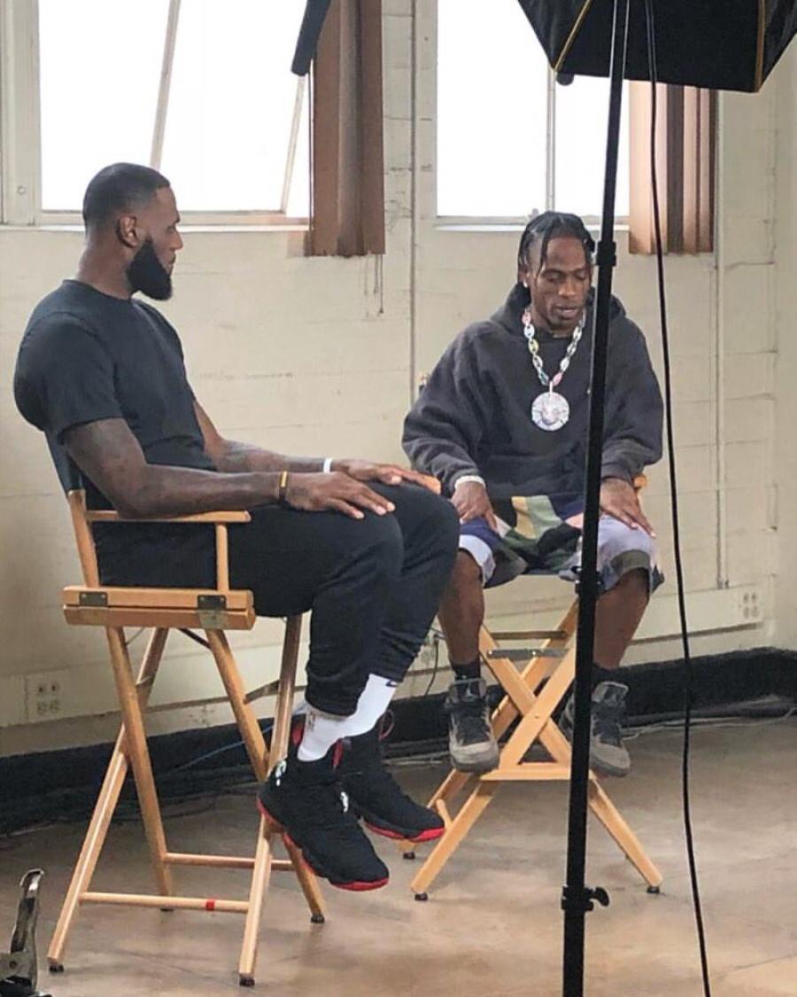 "Lebron James in the Nike Lebron 15 & Travis Scott in the Travis Scott x Air Jordan 4 ""Friends and Family"""