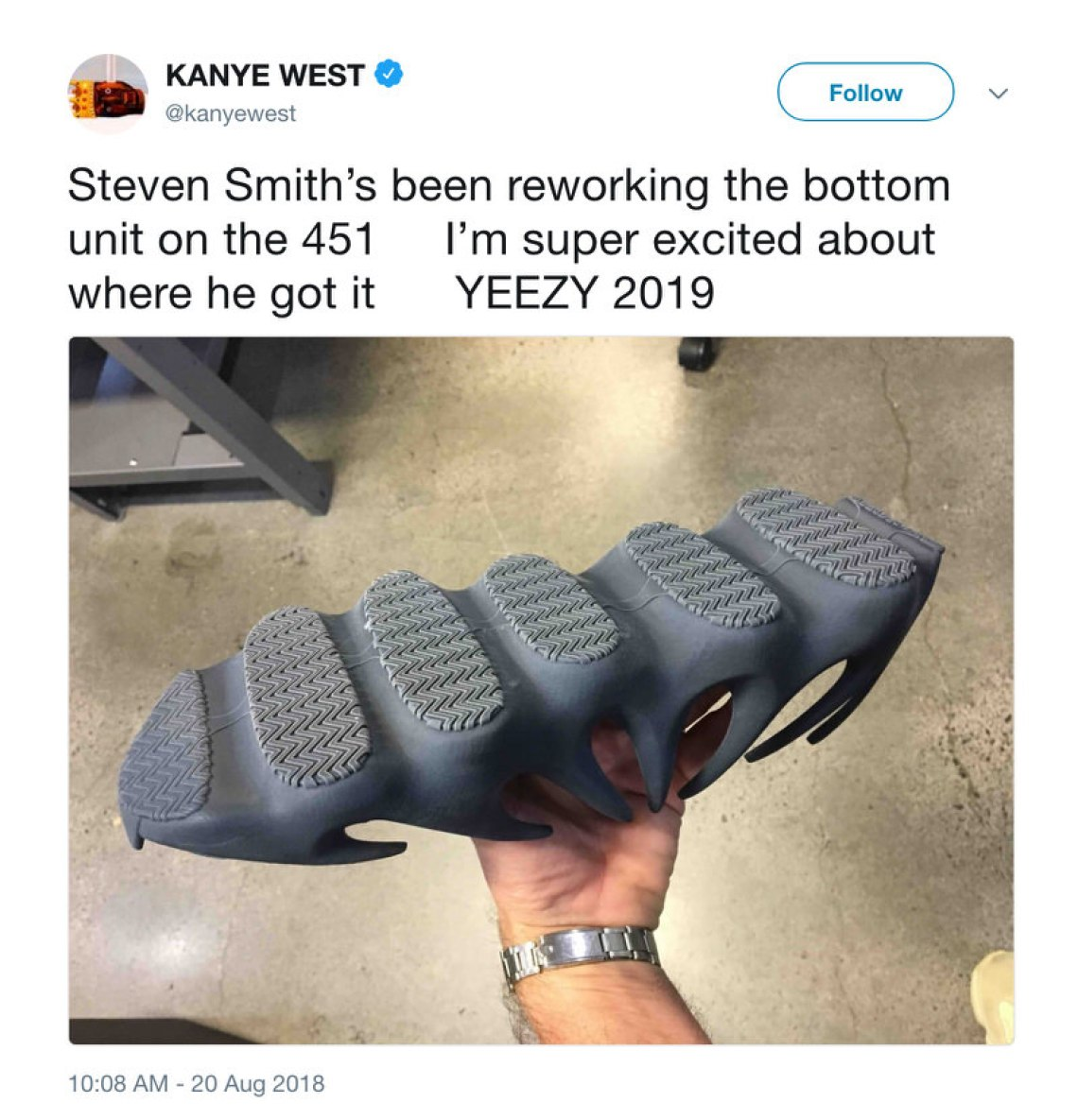 1fd22171d Original adidas Yeezy 451 Sample. Check out the tweet and photo below and  stay tuned to Nice Kicks for more updates.