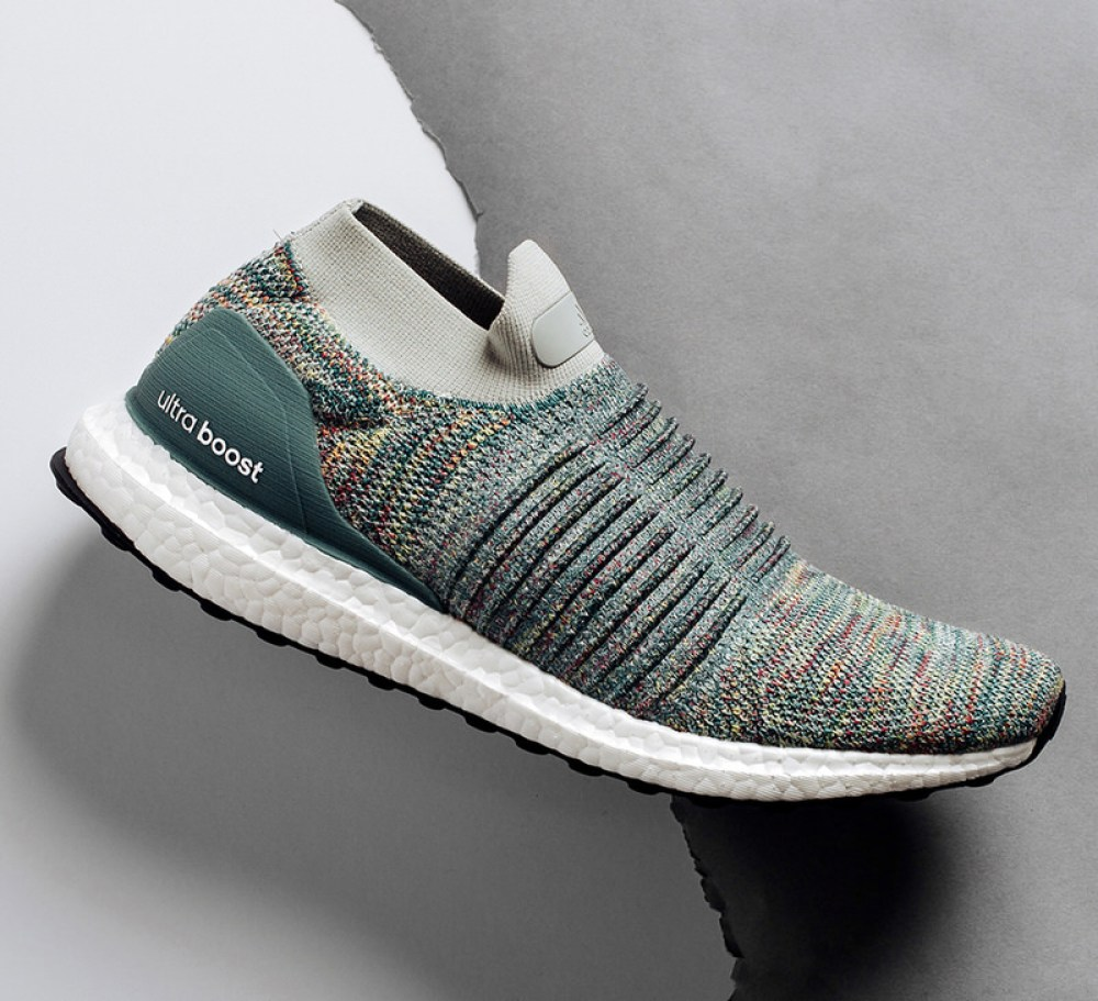 sneakers for cheap 9a9c5 c436b Sporting hues of teal, yellow, purple and grey throughout the Primeknit  upper, this version of the Ultra Boost Laceless also has a light grey ankle  collar.