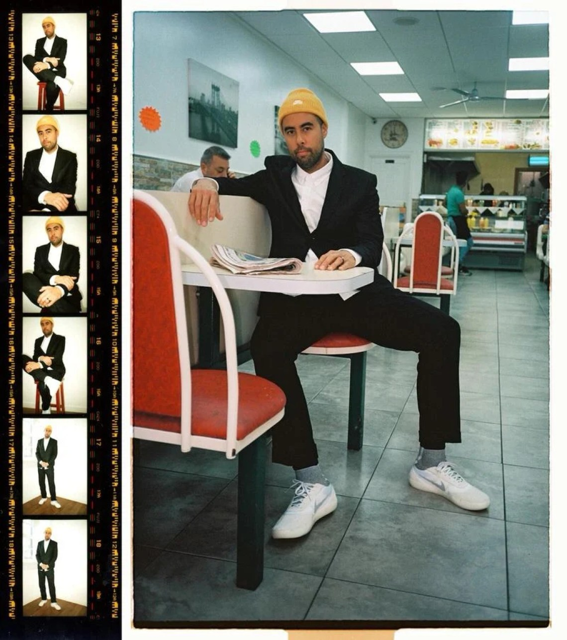 Eric Koston is feeling the smart meets street style tactic with the blazer, trousers, and Koston 3 Hyperfeel combo.