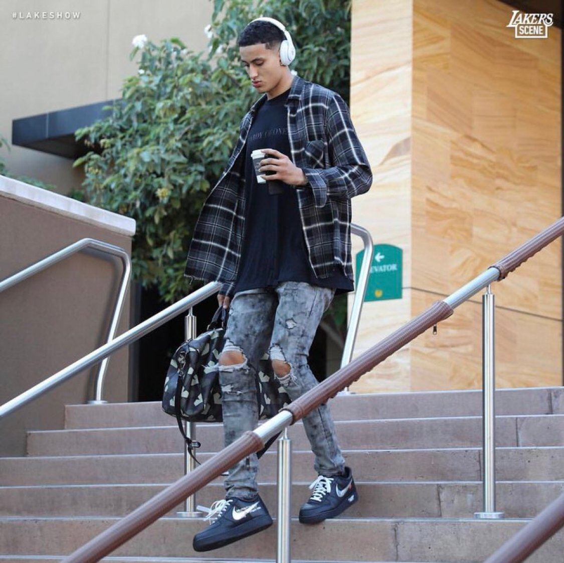 c358dad9d27b ... Kyle Kuzma in the Off White x Nike Air Force 1 Low