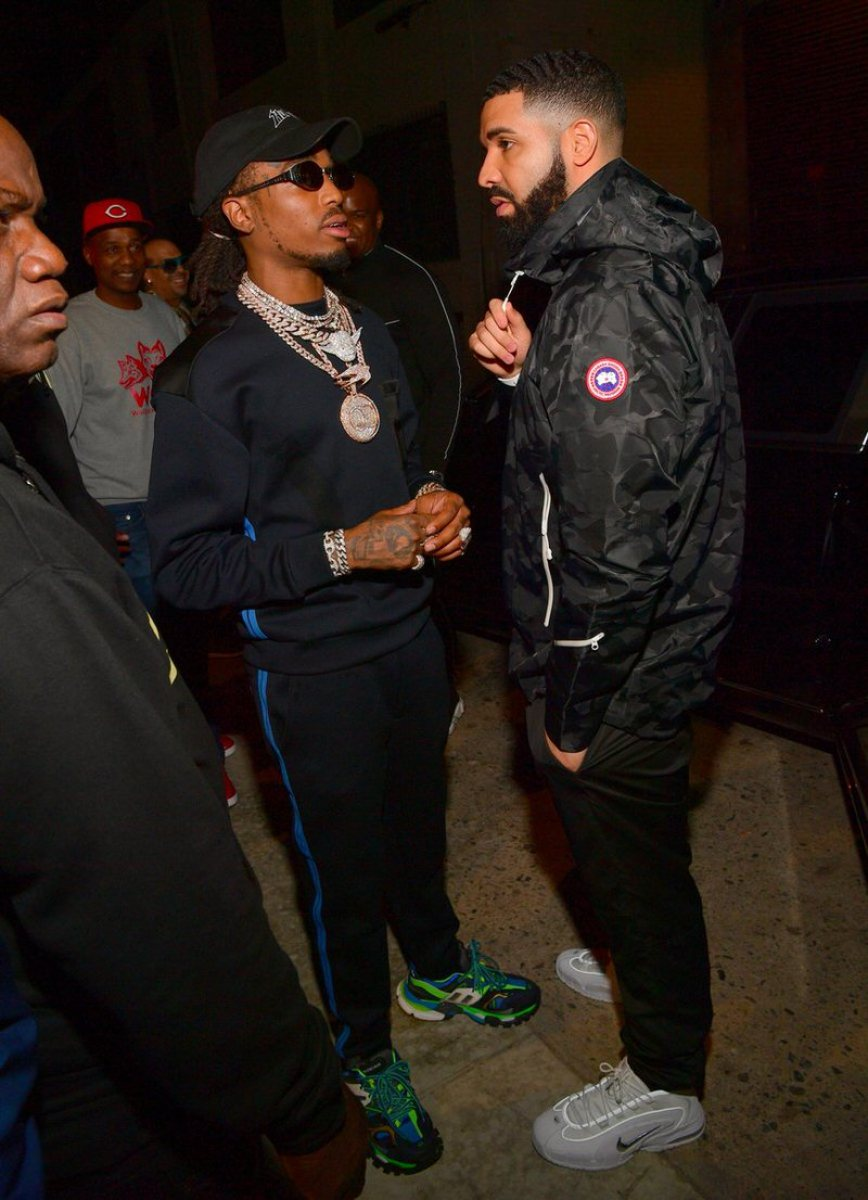 Quavo in the Balenciaga Track Sneakers & Drake in the Nike Air Penny 1