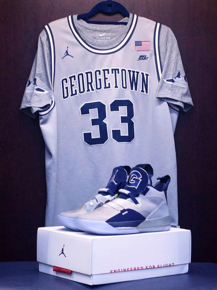 840101f2f75 While #33 was known to rock a mean pair of Nikes back in the day, it's now  the Air Jordan 33 Georgetown PE that his players will wear.