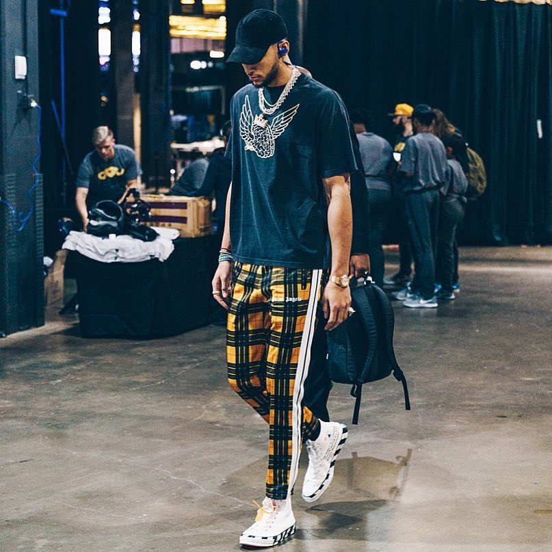 Ben Simmons in the Off White x Converse Chuck Taylor