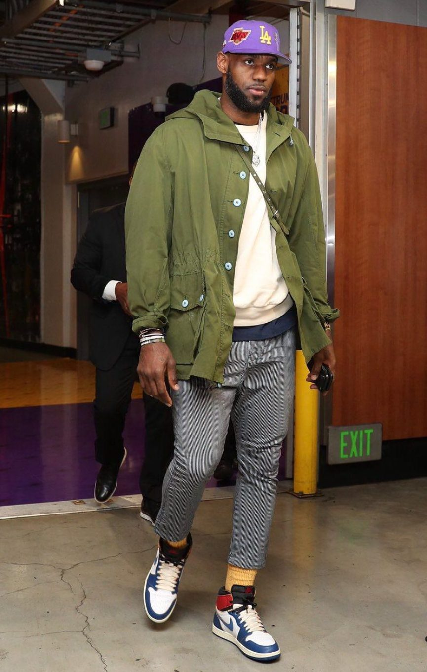 LeBron James in the unreleased Union x Nike Air Jordan 1 ... f29c9ab33166