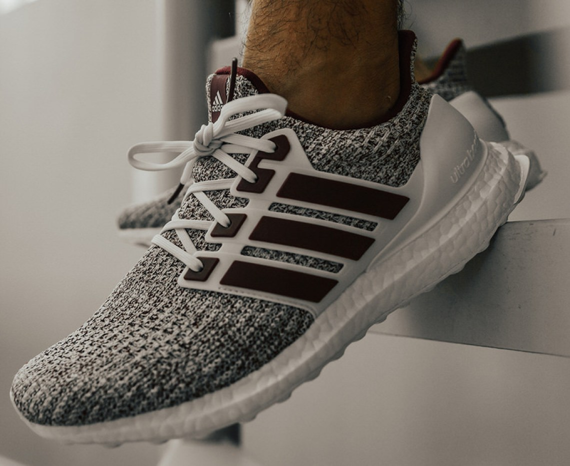 "b24c25e9e5d Checked out styled shots of the adidas Ultra Boost 4.0 ""Texas A M"" below  with pairs available now at adidas. Keep it locked to Nice Kicks for more  Boost ..."