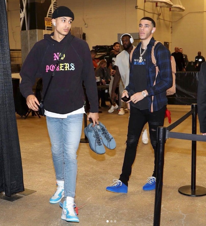 "Kyle Kuzma in the Off White x Air Jordan 1 ""UNC"" & Lonzo Ball in the Giuseppe Zanotti Sneakers"