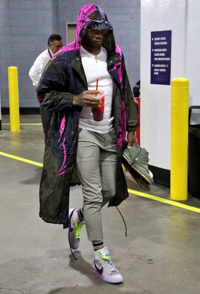 "PJ Tucker in the Off White x Nike Blazer Mid ""Queen"""