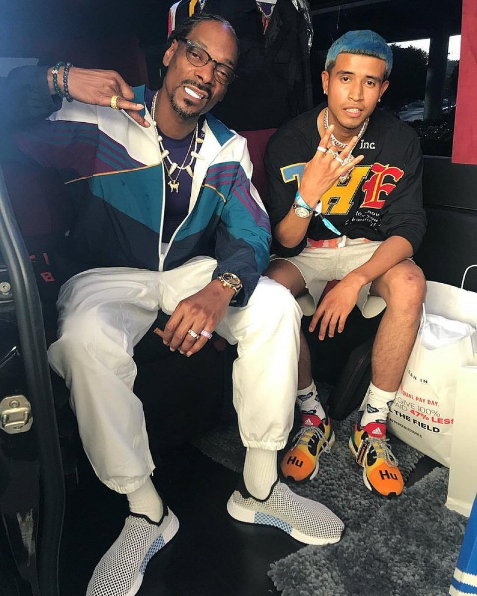 Snoop Dogg in the adidas Deerupt Runner & Kap G in the Pharrell Williams x adidas Solar Glude ST