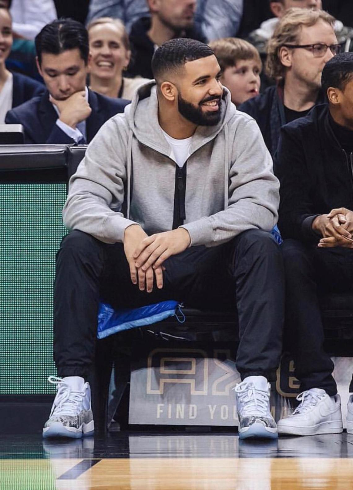"""Drake in the Air Jordan 11 """"Snakeskin PE"""""""