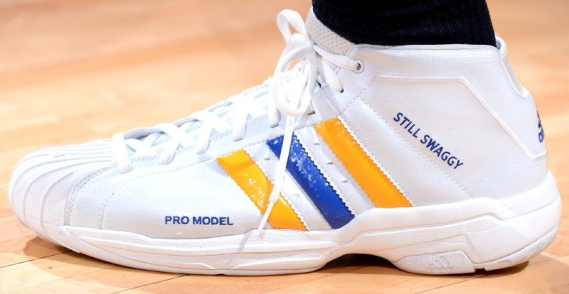 "competitive price 0f520 17e5b Nick Young in the adidas Pro Model ""Still Swaggy"" PE (Bart Young NBAE via  Getty Images)"