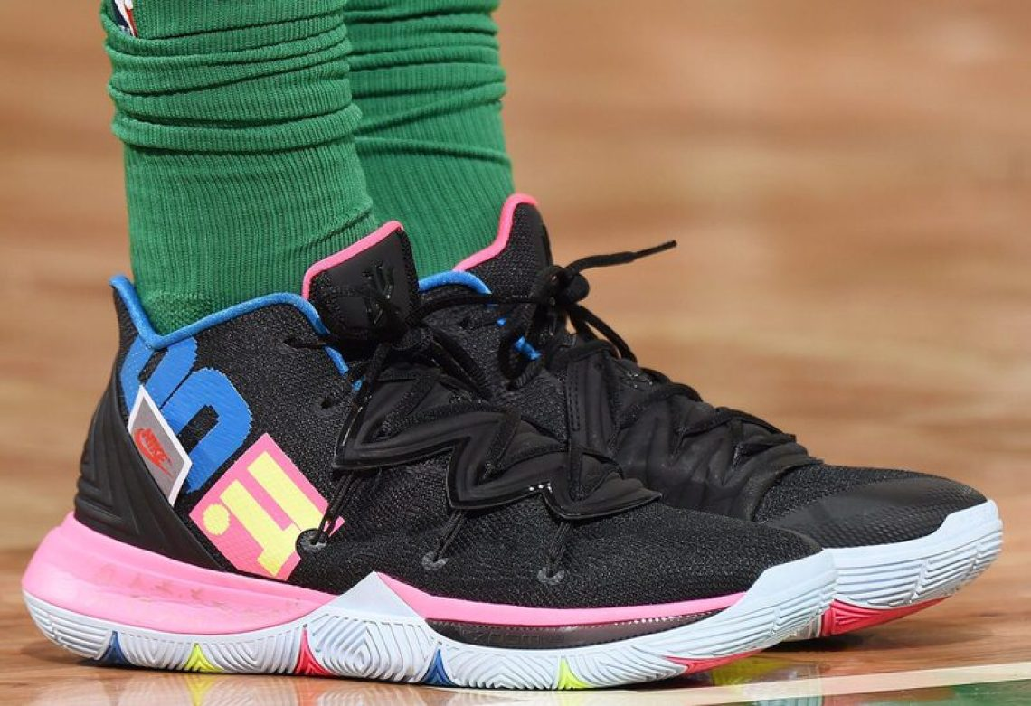 "f159cae78ad Kyrie Irving in the Nike Kyrie 5 ""Just Do It"" vs. Charlotte Hornets ( Brian  Babineau NBAE via Getty Images)"
