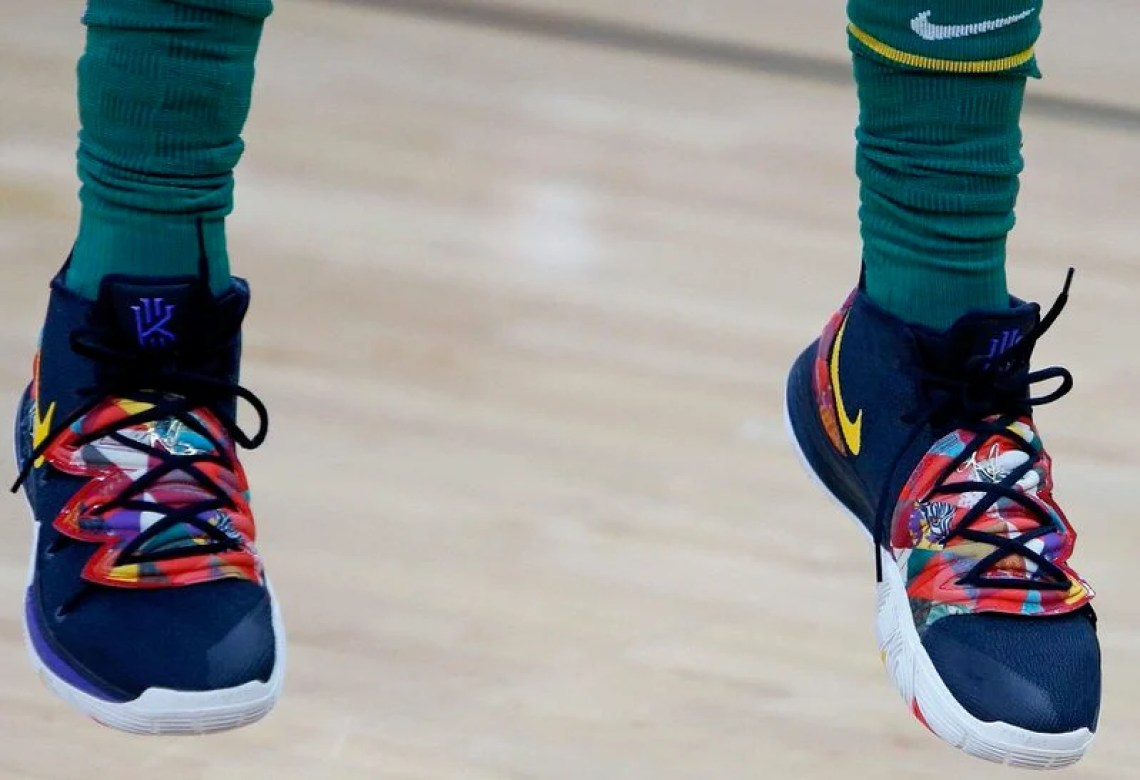 """9faa5d060fa8 Kyrie Irving in the Nike Kyrie 5 """"Chinese New Year"""" vs. San Antonio Spurs  (Ronald Cortes Getty Images)"""