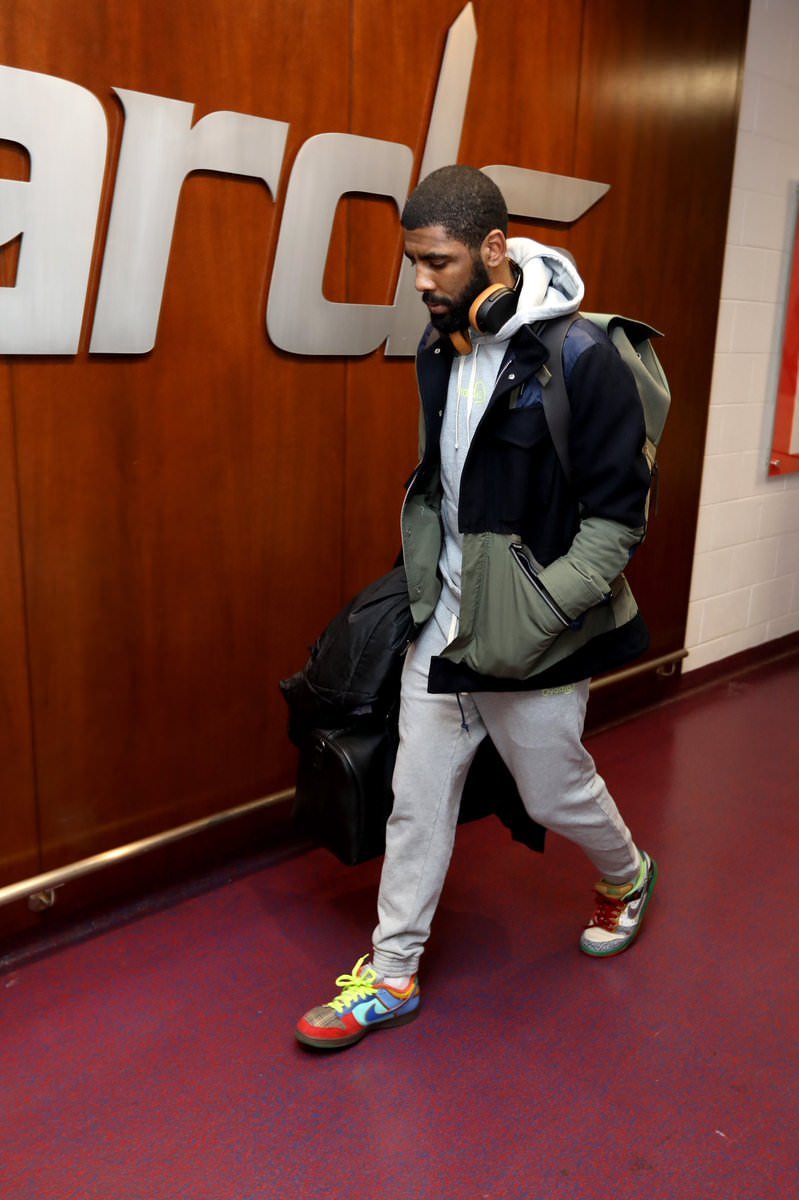 "Kyrie Irving in the Nike Dunk Low SB ""What the Dunk"""