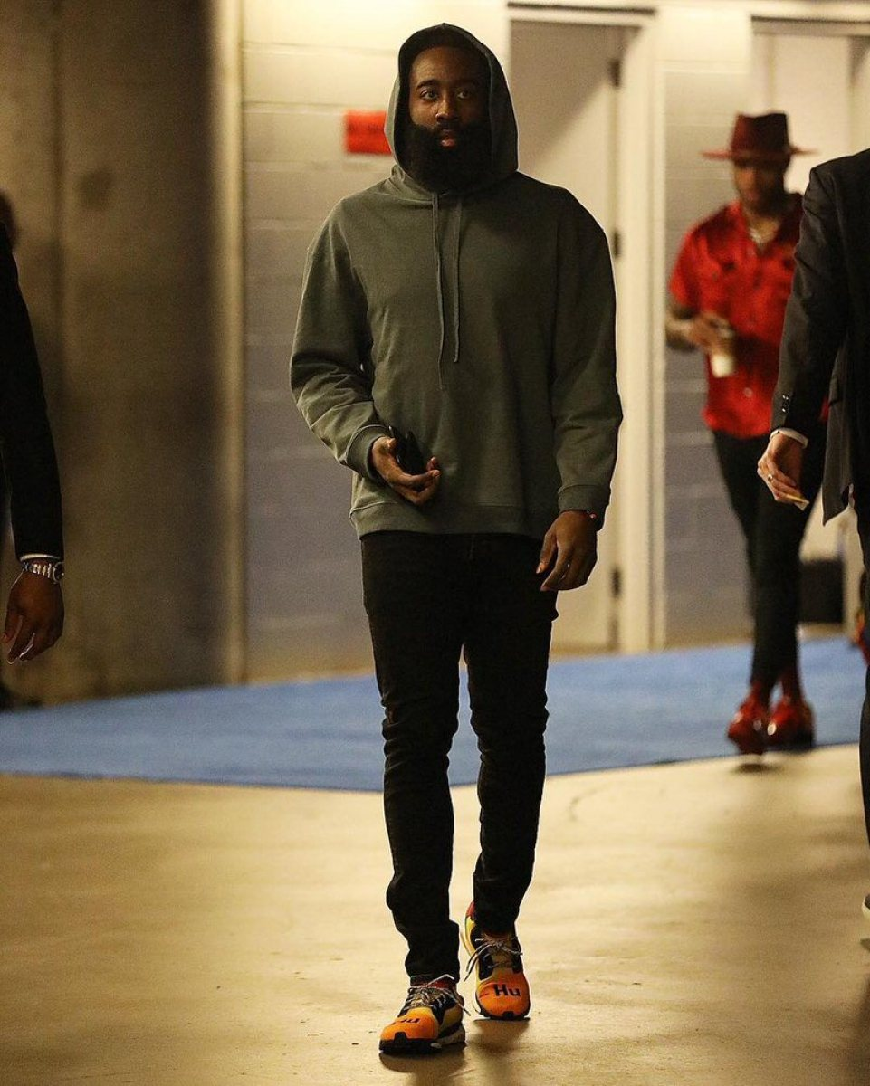 James Harden in the Pharrell Williams x adidas Solar Glide ST Hu