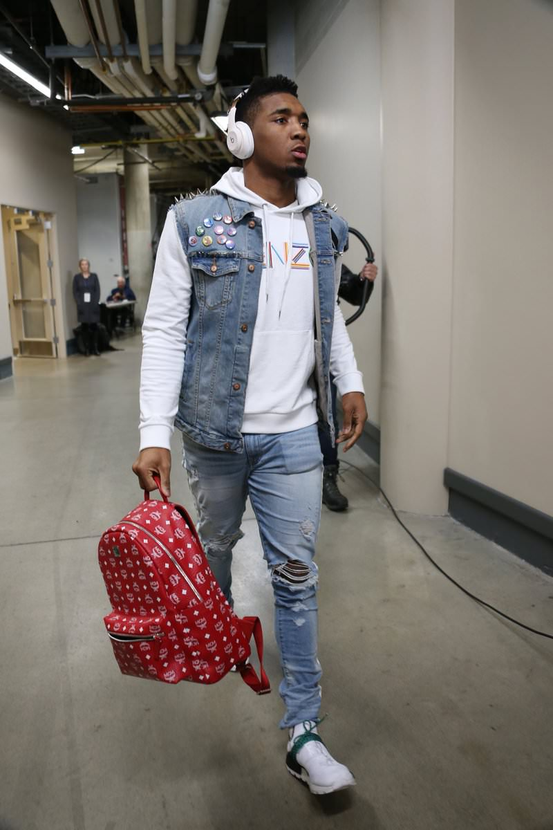 Donovan Mitchell in the Pharrell Williams x adidas NMD Human Race