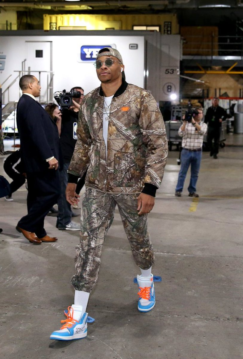 "Russell Westbrook in the Off White x Air Jordan 1 ""UNC"""