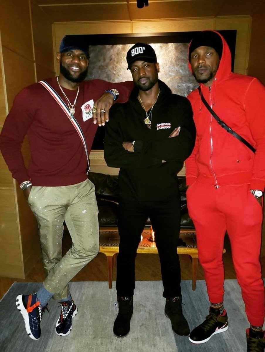 Lebron James in the Nike React Runner Mid WR ISPA & Dwyane Wade in the Champion x Timberland Boots & Udonis Haslem in the Air Jordan 1 Mid