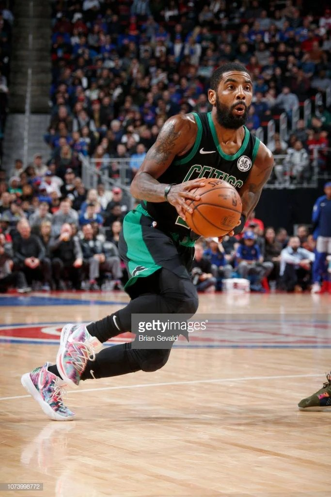 "86dad7919e31 ... Kyrie Irving in the Nike Kyrie 5 ""Neon Blend"" vs. Detroit Pistons  (Brian Sevald NBAE via Getty Images) ..."