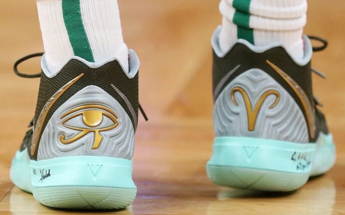 "ea3af558f954 ... Kyrie Irving in the Family and Friends Concepts x Nike Kyrie 5 ""Ikhet""  vs. Indiana Pacers (Maddie Meyer Getty Images)"