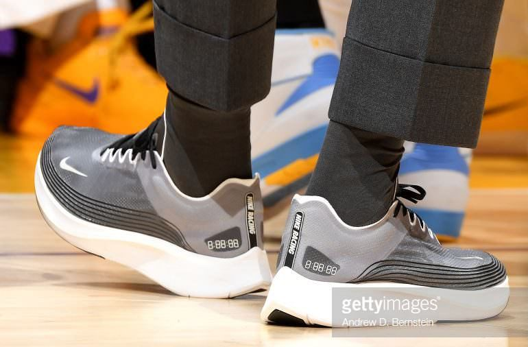 """a900edeb82a LeBron James in the Nike Zoom Fly SP """"Grey Black"""" vs. Chicago Bulls (Andrew  D. Bernstein NBAE via Getty Images)"""