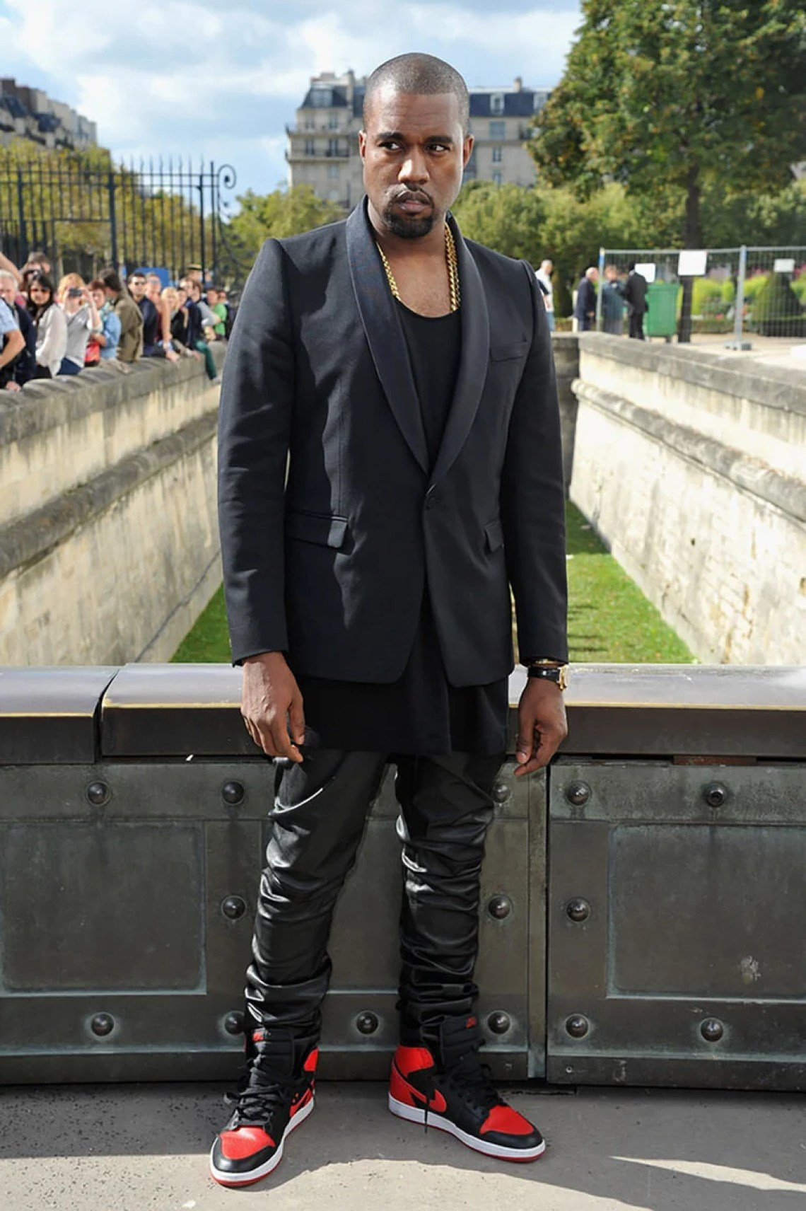 7af4b7a37ca The Time Kanye Wore Jordan 1s to Fashion Week | Nice Kicks