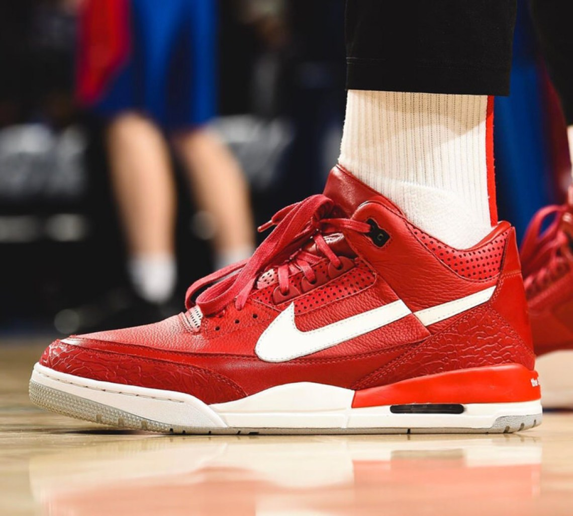 info for 2768f 52a4b ... PJ Tucker in a Supreme x CDG JTH-inspired Air Jordan 3 Custom by The  Shoe Surgeon (photo by David Dow NBAE via Getty Images) ...