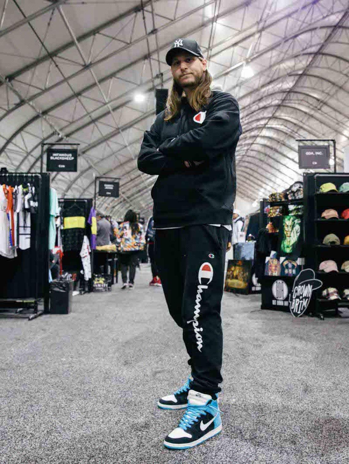 "Champion sweats and Todd Bratrud x Nike SB Dunk High ""Send Help."""
