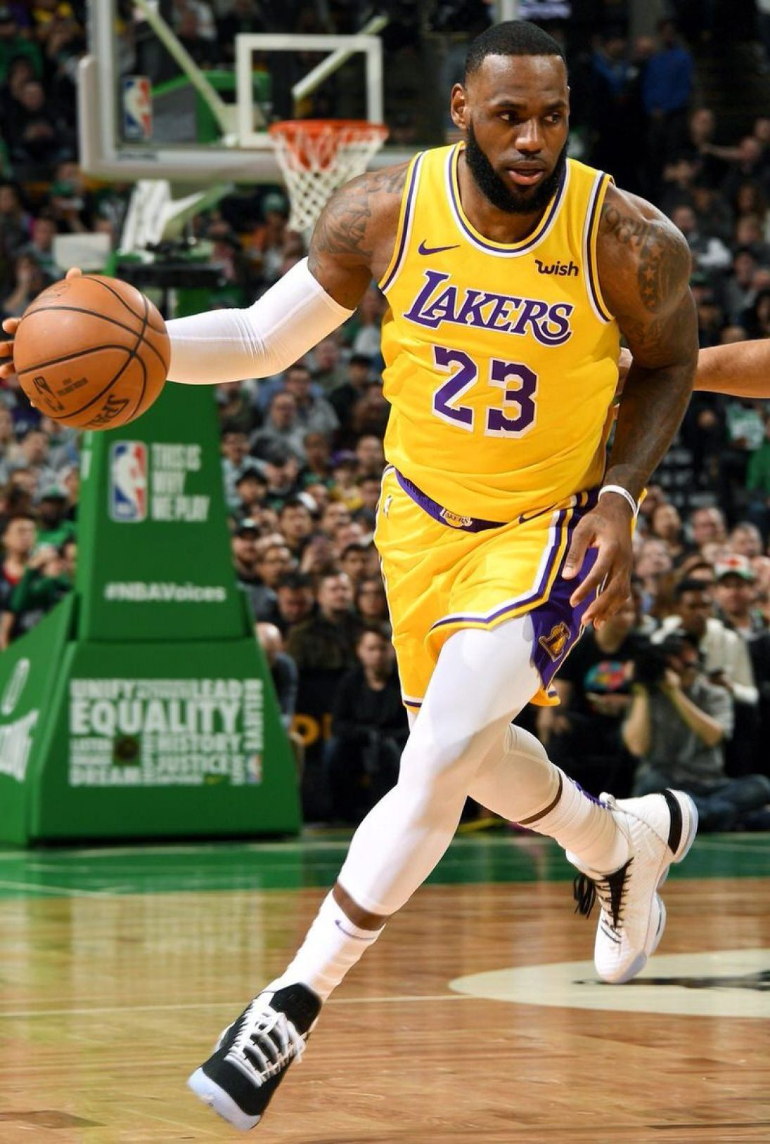 """358aeec9796d8 LeBron James in the Nike LeBron 16 """"Equality"""" vs. Boston Celtics (Andrew D.  Bernstein NBAE via Getty Images)"""