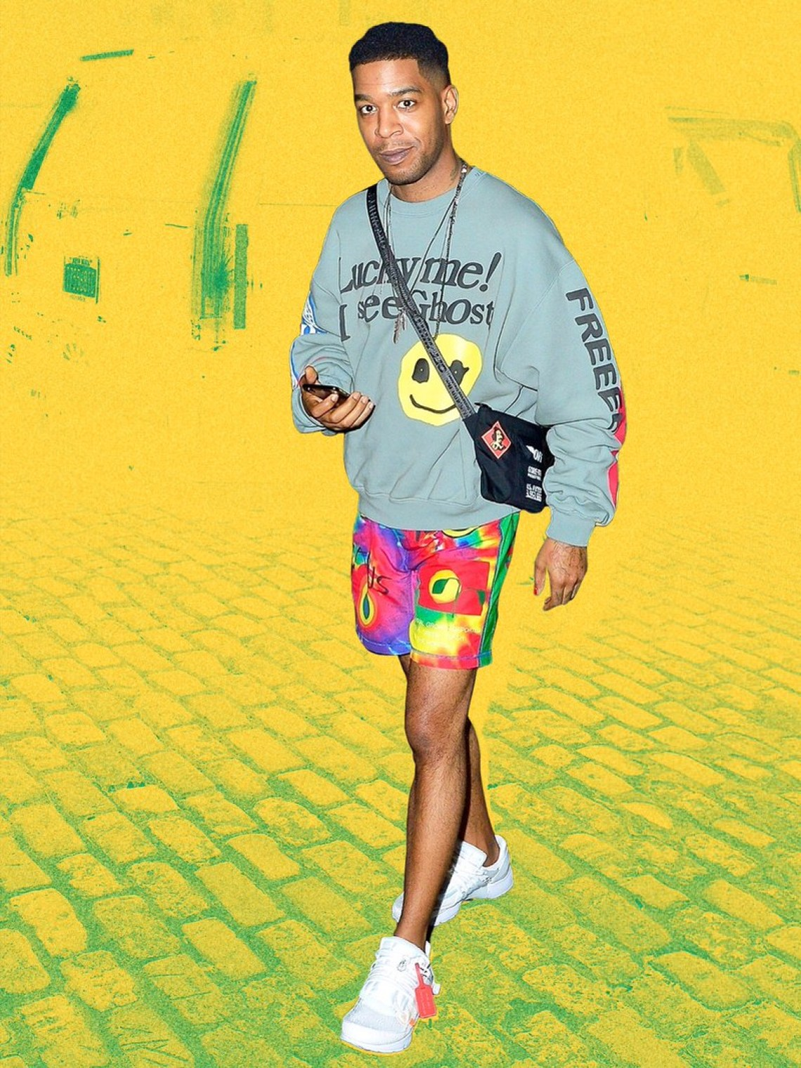 Kid Cudi on his way to the Kids See Ghosts SNL performance wearing Cactus Plant Flea Market merch.