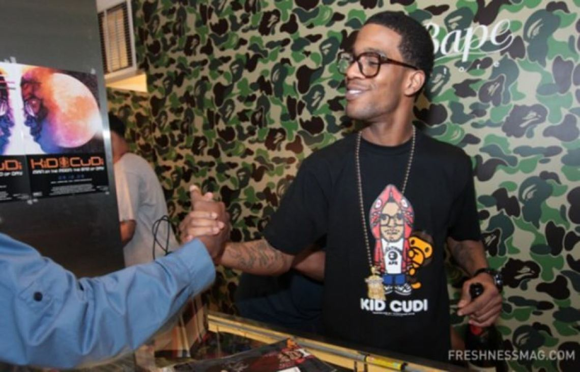 Kid Cudi's guest appearance at Fashion's Night Out wearing his co-branded BAPE collection.