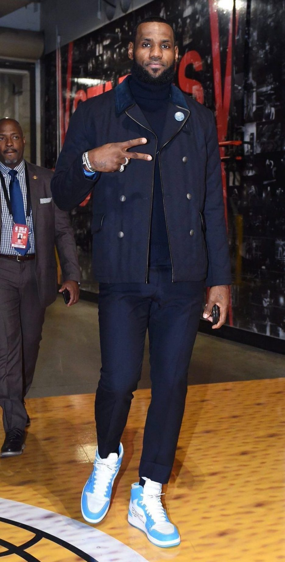 "2188b39bb12b ... LeBron James in the Off-White x Air Jordan 1 ""UNC"" ..."
