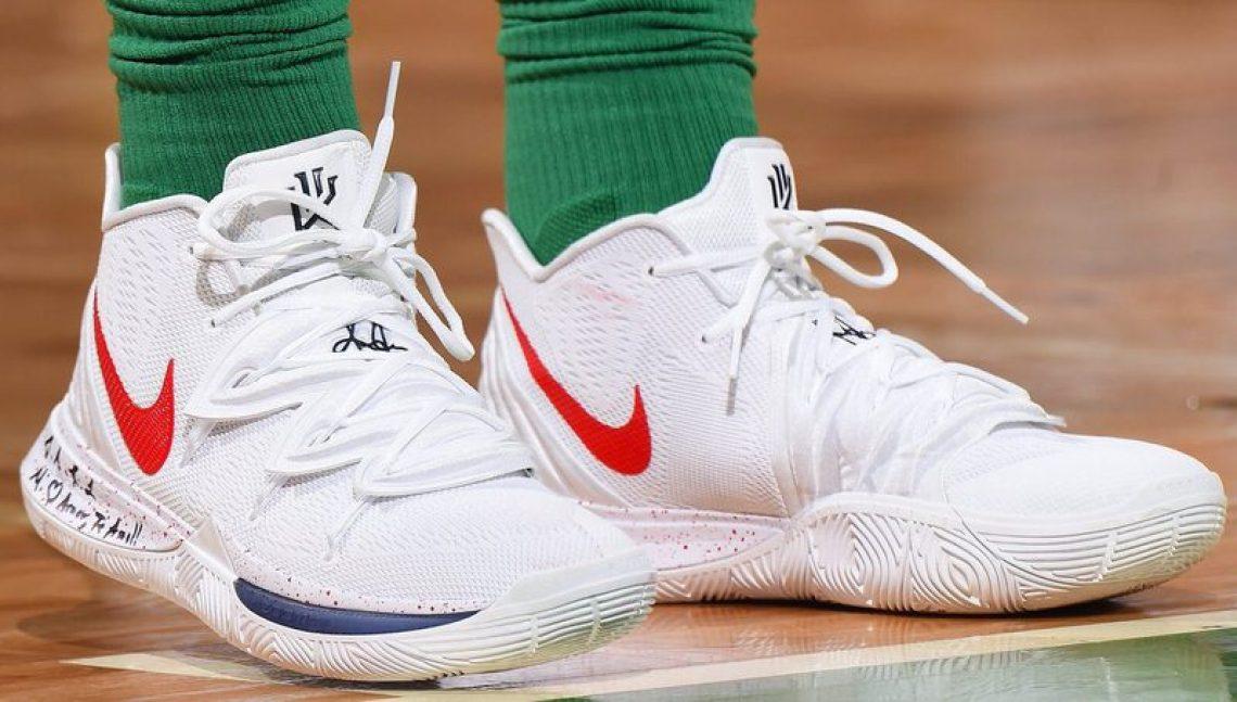 release date f1cda 60d66 ... Kyrie Irving in the Nike Kyrie 5 UCONN PE vs. Atlanta Hawks (Brian  Babineau NBAE via Getty Images) ...