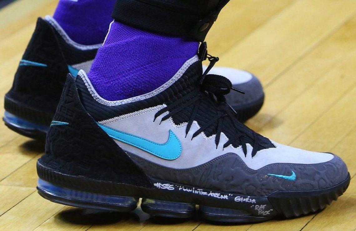 df3da1d8149 LeBron James in the Nike LeBron 16 PE vs. Toronto Raptors (Vaughn  Ridley Getty Images) ...