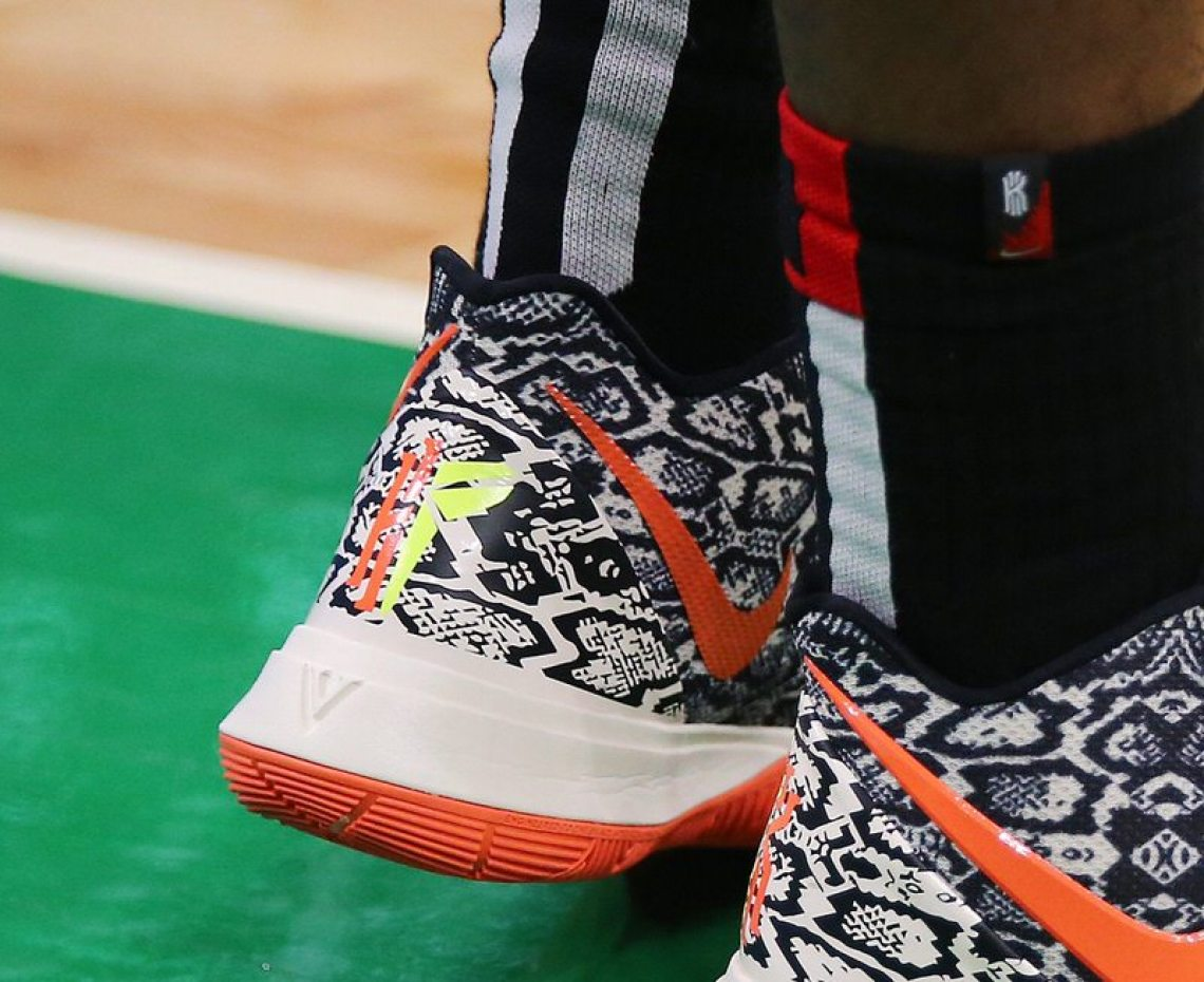 huge discount e54a6 37830 Kyrie Irving in the Nike Kyrie 5 PE in game 2 of round one of the Eastern  Conference Playoffs vs. Indiana Pacers (Maddie Meyer Getty Images) ...