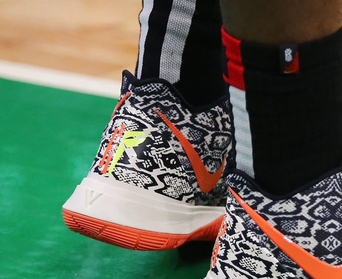 e87f382d553 Kyrie Irving in the Nike Kyrie 5 PE in game 2 of round one of the Eastern  Conference Playoffs vs. Indiana Pacers (Maddie Meyer Getty Images) ...
