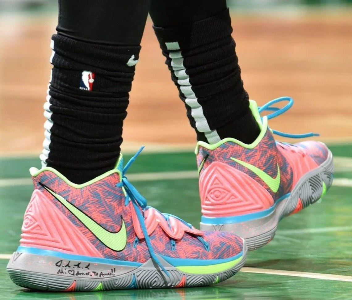 b0d973b214a0 Kyrie Irving in the Nike Kyrie 5 PE vs. Indiana Pacers in Game 1 of the  Eastern Conference Playoffs (Jesse D. Garrabrant NBAE via Getty Images) ...