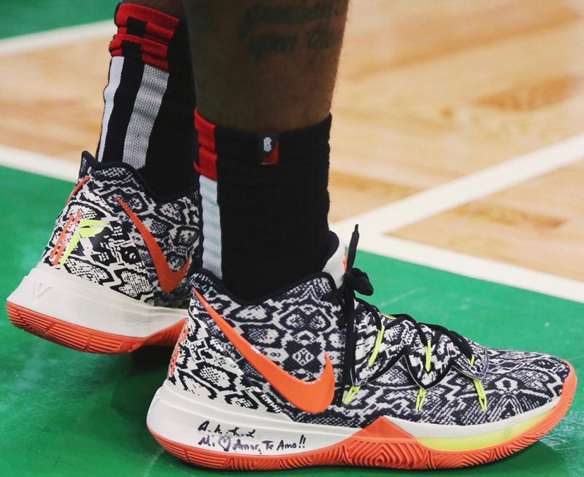 537c180a56b1 ... Kyrie Irving in the Nike Kyrie 5 PE in game 2 of round one of the  Eastern Conference Playoffs vs. Indiana Pacers (Maddie Meyer Getty Images)  ...