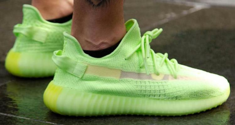 "2ab2da7296ae24 How the adidas Yeezy Boost 350 V2 ""Glow in the Dark"" Looks On Foot"