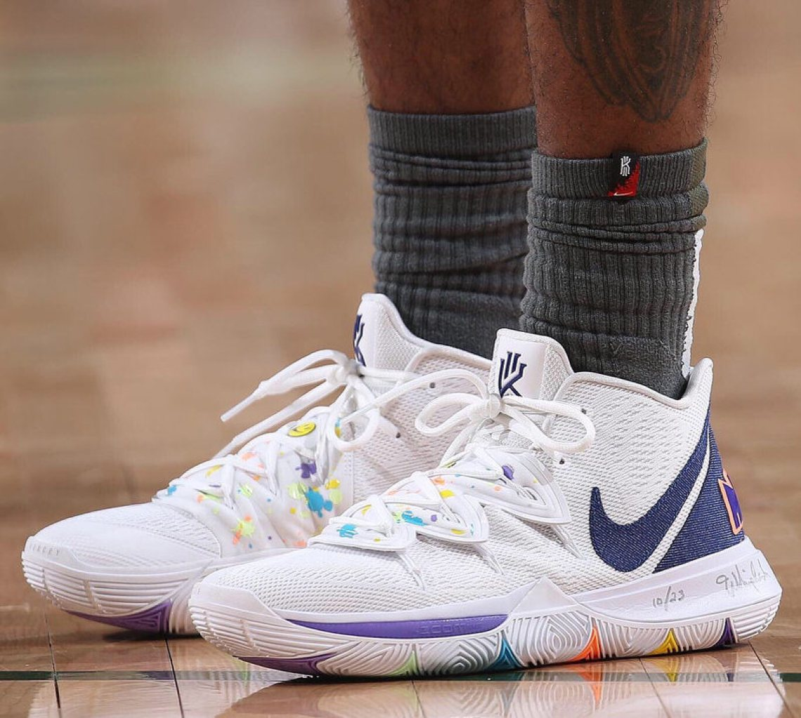 new style 9778b 2e160 ... Kyrie Irving in the Nike Kyrie 5 PE vs. Milwaukee Bucks (Gary  Dineen NBAE via Getty Images) ...