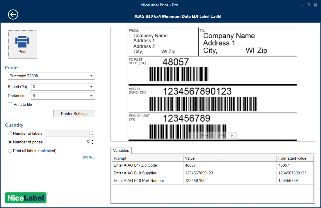 hight resolution of nicelabel print forms to elimante printing errors