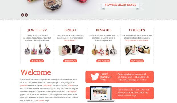 JOPP Beautiful Unique Handmade Jewellery Webdesign