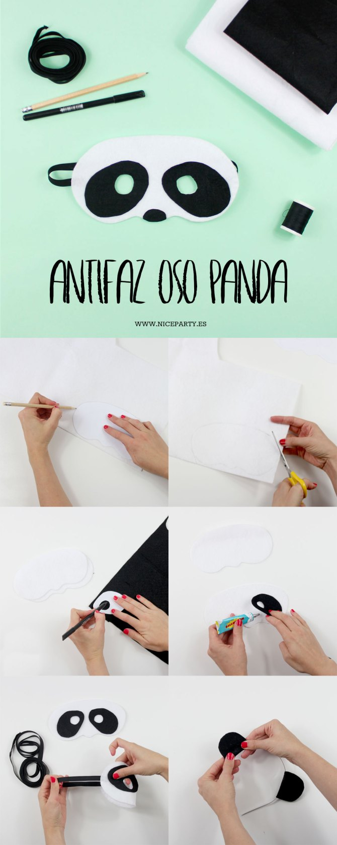 DIY antifaz oso panda 2