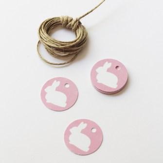 Nice Party Shop etiquetas redondas de la fiesta del conejito rosa